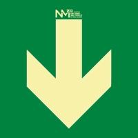 Placa de flecha derecha NORMALUZ de PVC fotoluminiscente 224 x 224 mm