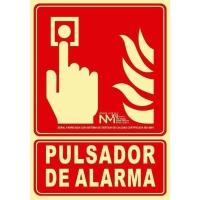 Placa de PULSADOR DE ALARMA NORMALUZ de PVC fotoluminiscente 297 x 210 mm