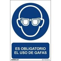 Placa de ES OBLIGATORIO EL USO DE GAFAS NORMALUZ de PVC 297x210 mm