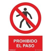 Placa de PROHIBIDO EL PASO NORMALUZ de PVC 297 x 210 mm