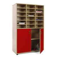 Mueble medio armario y casillero MOBEDUC puertas rojas