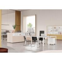 Mesa Ocean de melamina color blanco/blanco dimensiones 140 x 80 x 75 cm