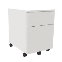 Buck de melamina 1 cajón + 1 carpetero com ruedas color blanco/blanco