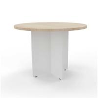 Mesa de reunión circular com pie aspa de madera color roble/blanco Diam: 120 cm