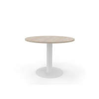 Mesa de reunión circular com pie de metal color roble/blanco Diam: 120 cm