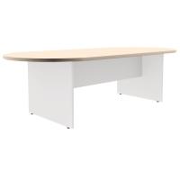 Mesa de reunión ovalada com pie de madera roble/blanco dimensiones 200x110x75cm