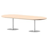 Mesa de reunión ovalada com pie de metal roble/blanco dimensiones 200x110x75 cm