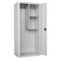 Armario portaescobas 1 puerta y 3 baldas SIMON RACK gris 180 x 80 x 50 cm