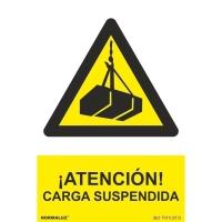 Placa de ¡ATENCIÓN! CARGA SUSPENDIDA NORMALUZ de PVC 300 x 210 mm
