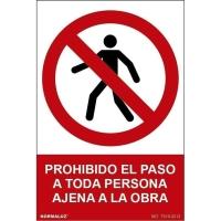 Placa PROHIBIDO EL PASO A TODA PERSONA AJENA A LA OBRA NORMALUZ de PVC 300x210mm