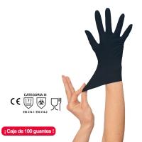 Caja 100 guantes RUBBEREX NIT100.B.PF desechables sin polvo nitrilo negro 7 S