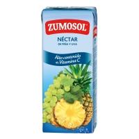 Pack de 3 briks de néctar de piña y uva ZUMOSOL de 200ml