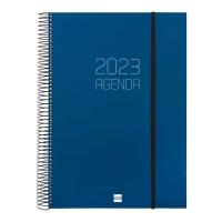 Agenda de sobremesa espiral OPAQUE, día página de 210 x 297 mm. Color azul