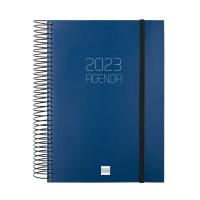 Agenda de sobremesa espiral OPAQUE, día página de 155 x 215 mm. Color azul
