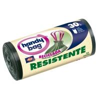 Rollo de 15 bolsas de basura de 30 litros HANDYBAG 550x630mm resistentes negras