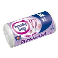 Rollo de 15 bolsas de basura de 10 litros HANDYBAG 450x450mm perfumadas blancas