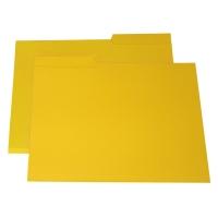 Pack de 50 subcarpetas con pestaña centro folio amarillo KARMAN