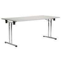Mesa plegable de melamina color gris con canteado en PVC 1600x800x720 mm