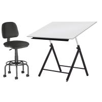 Conjunto taburete y mesa técnica regulable en altura tablero blanco de melamina