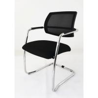Silla baja estructura patin en acero cromado asiento polipropileno color negro
