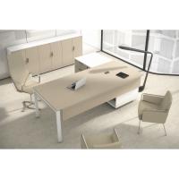 Conjunto Ocean Luxe mesa + ala bilaminada roble pies metalicos 210x160x75