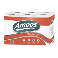 Pack de 12 rollos papel higiénico doméstico AMOOS 2 capas 20m