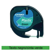 Cinta autoadhesiva DYMO LetraTag de plástico con letra negra/fondo verde