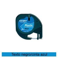 Cinta autoadhesiva DYMO LetraTag de plástico con letra negra/fondo azul