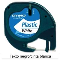 Cinta autoadhesiva DYMO LetraTag de plástico con letra negra/fondo blanco