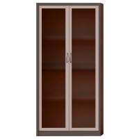 Armario con puerta batiente de cristal LYRECO con 4 estantes 198x100x45cm blanco