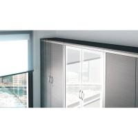 Armario con puerta batiente de cristal LYRECO con 3 estantes 138x100x45 cm