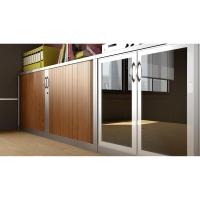 Armario con puerta de cristal LYRECO 71 x 100 x 45 de 1 estante. Blanco