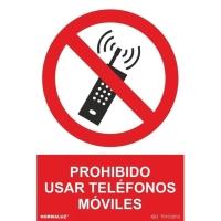 Placa   Prohibido móviles   NORMALUZ de PVC fotoluminiscente 210 x 300 mm
