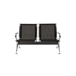 Bancada metálica   brazos LYRECO 2 asientos color negro Dim: 1220x800x750 mm