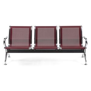 Bancada metálica   brazos LYRECO 2 asientos color burgundy Dim: 1220x800x750 mm