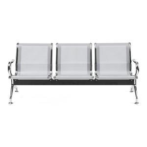 Bancada metálica   brazos LYRECO 3 asientos color gris Dim: 1800x800x750 mm