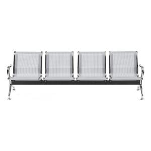 Bancada metálica   brazos LYRECO 4 asientos color gris Dim: 2400x800x750 mm