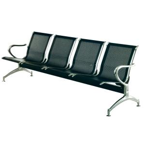 Bancada metálica   brazos LYRECO 4 asientos color negro Dim: 2400x800x750 mm