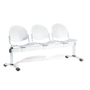 Bancada metálica sin brazos LYRECO 3 asientos color  gris Dim:1850x820x600 mm