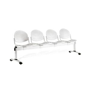Bancada metálica sin brazos LYRECO 4 asientos color  gris Dim: 2460x820x600 mm