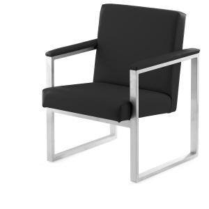 Sillon sala de espera LYRECO Serie 7000 1 asiento negro Dim: 610x810x670 mm