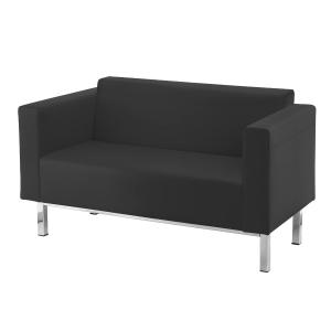 Sillon sala de espera LYRECO Serie 8000 2 asientos negro Dim: 1440x840x680 mm