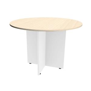 Mesa de reunión circular com pie aspa de madera color roble oscuro Diam: 120 cm