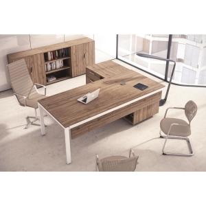 Conjunto Ocean Luxe mesa + ala nogal mate pies metalicos 210x160x75