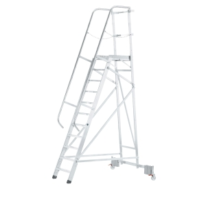 Escalera profesional ZARGES con plataforma grande y 11 peldaños