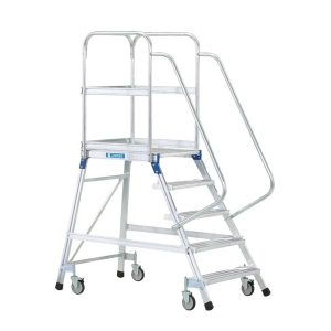 Escalera profesional ZARGES con plataforma extragrande con barandilla 4 peldaños