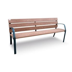 Banco urbano patas de fundición ductil 6 listones madera técnica 35x110x1800 mm
