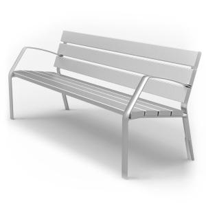 Banco urbano 7 listones de aluminio color PLATA MATE 650x780x1800