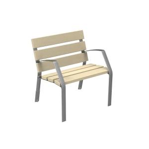 Silla urbana, patas de fundición ductil martelé  6 listones madera 35x110x700mm
