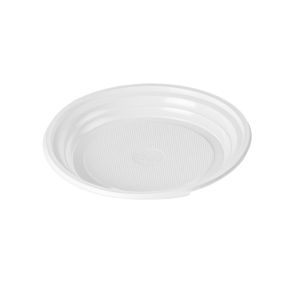 Pack de 25 platos de postre forma octogonal de 17cm de color blanco